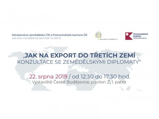 Jak na export do třetích zemích - konzultace se zemědělskými diplomaty