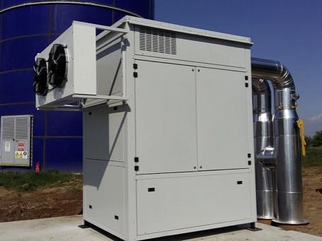 Chlazení bioplynu a separace před KGJ